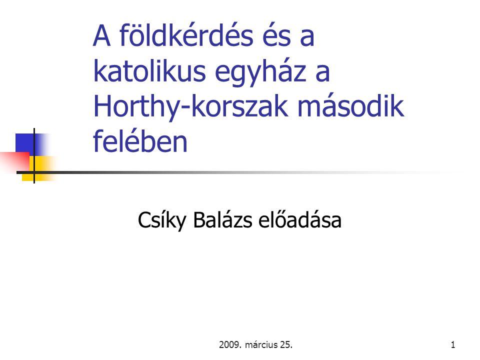 2009.március 25.22 Újabb reformelképzelések 2.  Serédi beszéde a Felsőházban 1939.