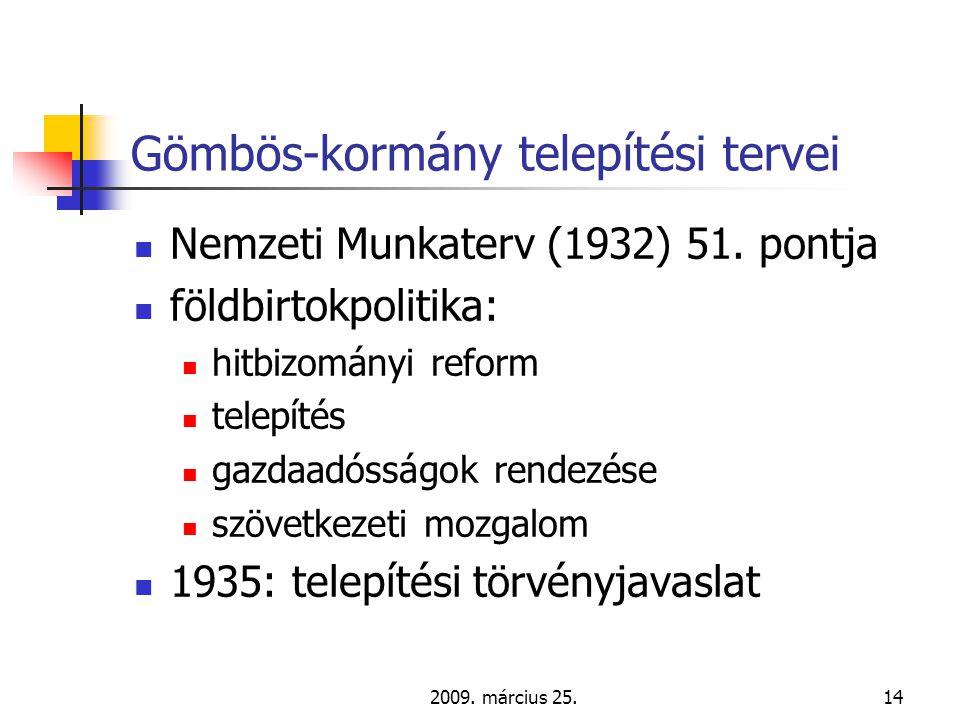 2009. március 25.14 Gömbös-kormány telepítési tervei  Nemzeti Munkaterv (1932) 51.