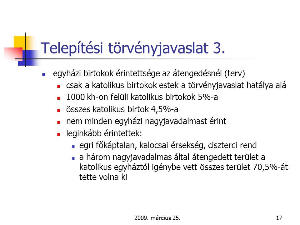 2009. március 25.17 Telepítési törvényjavaslat 3.