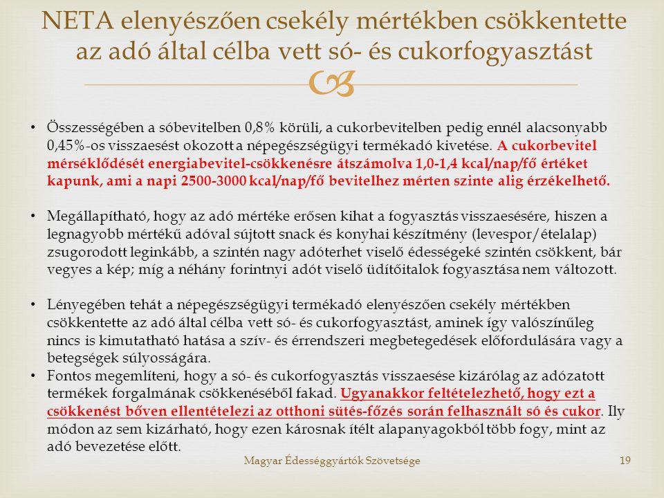  Magyar Édességgyártók Szövetsége19 • Összességében a sóbevitelben 0,8% körüli, a cukorbevitelben pedig ennél alacsonyabb 0,45%-os visszaesést okozot