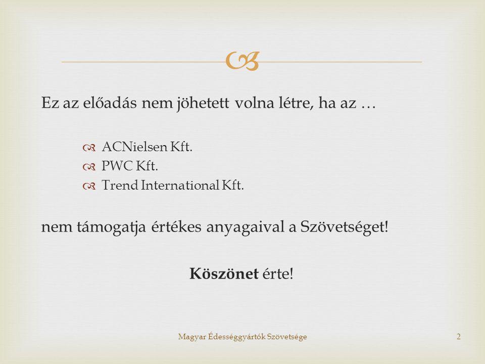  NETA hatása a fogyasztásra Magyar Édességgyártók Szövetsége13