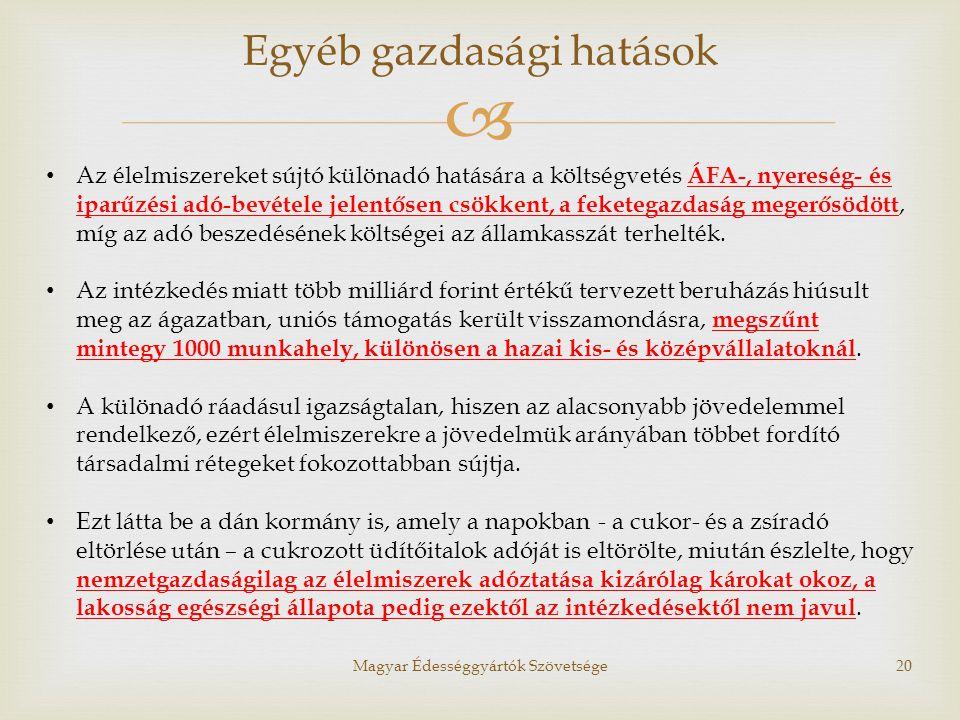  Magyar Édességgyártók Szövetsége20 • Az élelmiszereket sújtó különadó hatására a költségvetés ÁFA-, nyereség- és iparűzési adó-bevétele jelentősen c