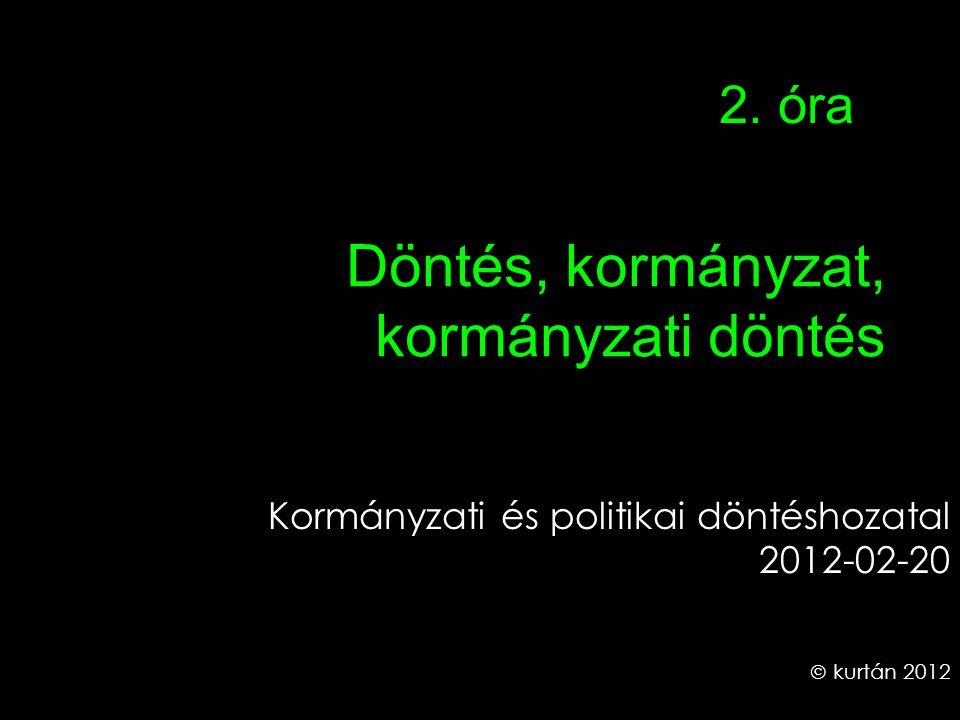 Döntés, kormányzat, kormányzati döntés Kormányzati és politikai döntéshozatal 2012-02-20  kurtán 2012 2.