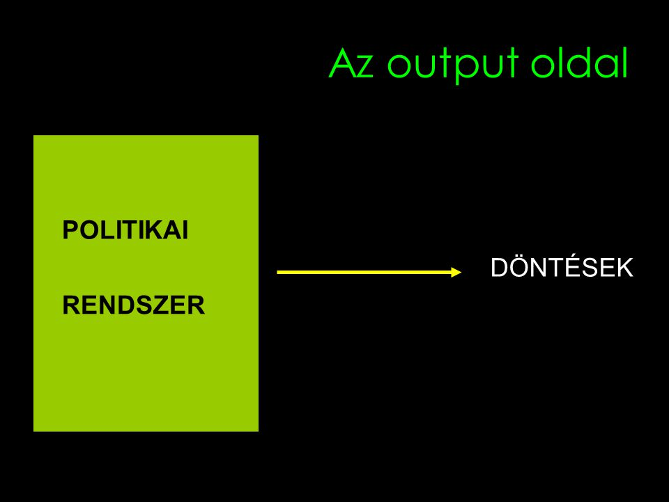 Az output oldal POLITIKAI DÖNTÉSEK RENDSZER