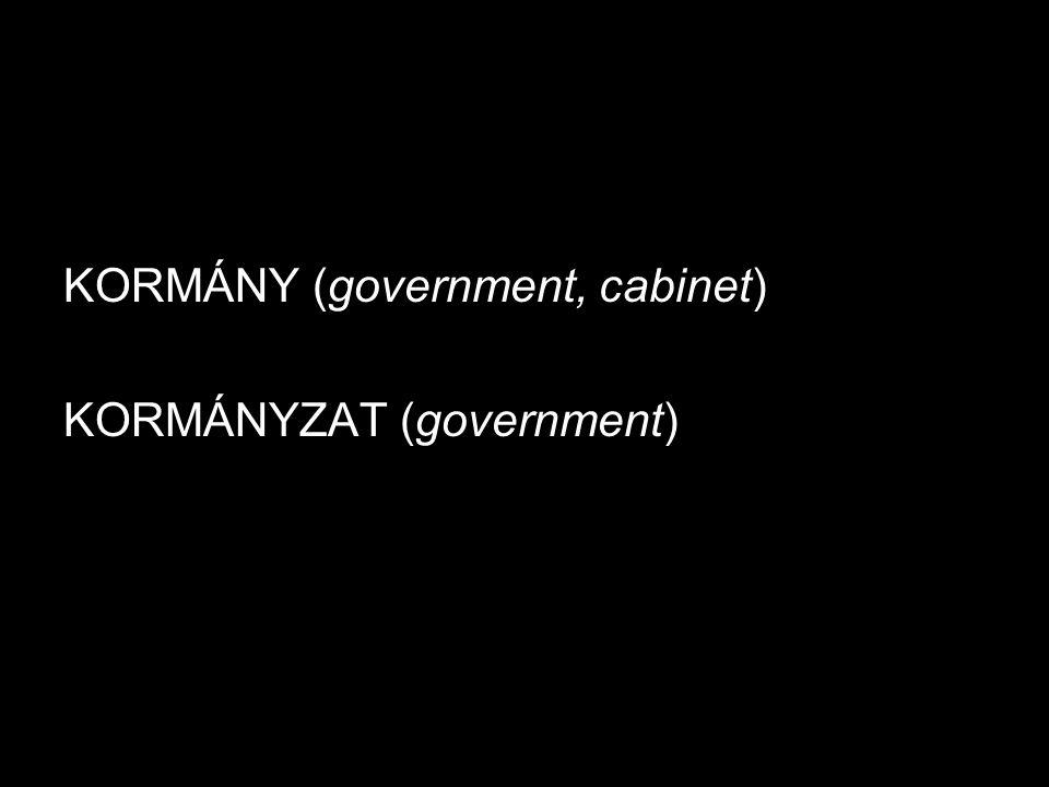 KORMÁNY (government, cabinet) KORMÁNYZAT (government)