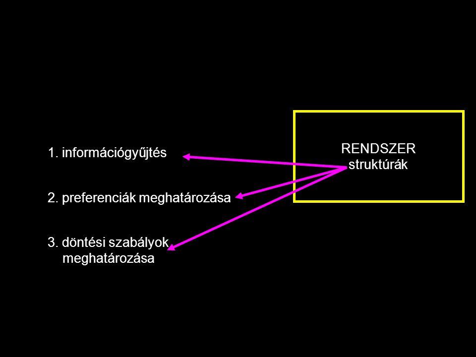 RENDSZER struktúrák 1.információgyűjtés 2. preferenciák meghatározása 3.
