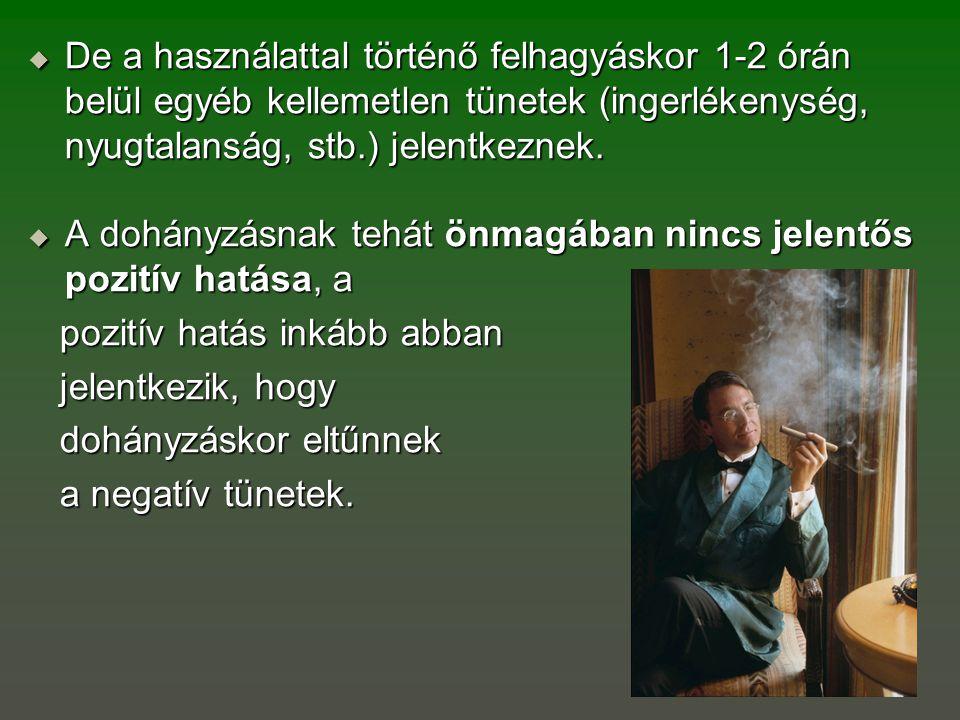  De a használattal történő felhagyáskor 1-2 órán belül egyéb kellemetlen tünetek (ingerlékenység, nyugtalanság, stb.) jelentkeznek.  A dohányzásnak