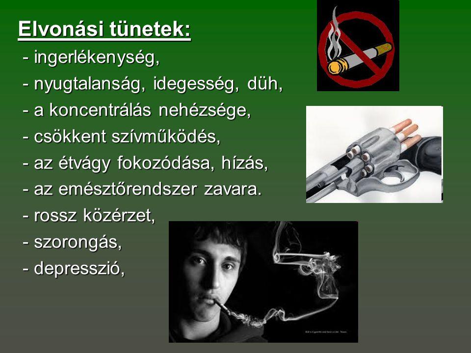Elvonási tünetek: - ingerlékenység, - ingerlékenység, - nyugtalanság, idegesség, düh, - nyugtalanság, idegesség, düh, - a koncentrálás nehézsége, - a
