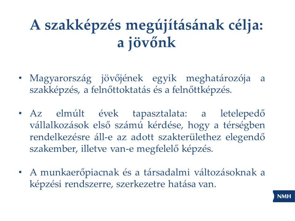 A szakképzés megújításának célja: a jövőnk • Magyarország jövőjének egyik meghatározója a szakképzés, a felnőttoktatás és a felnőttképzés. • Az elmúlt