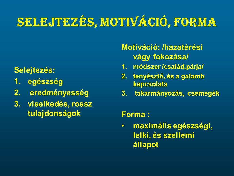 Selejtezés, motiváció, forma Selejtezés: 1.egészség 2. eredményesség 3.viselkedés, rossz tulajdonságok Motiváció: /hazatérési vágy fokozása/ 1.módszer