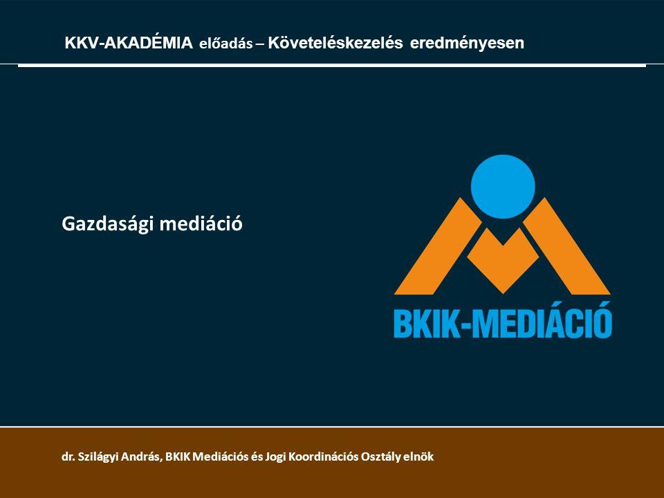 Gazdasági mediáció KKV-AKADÉMIA előadás – Követeléskezelés eredményesen dr. Szilágyi András, BKIK Mediációs és Jogi Koordinációs Osztály elnök