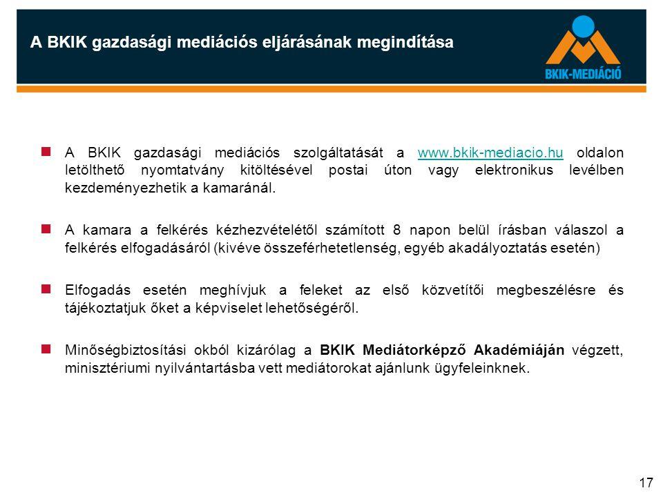 17 A BKIK gazdasági mediációs eljárásának megindítása  A BKIK gazdasági mediációs szolgáltatását a www.bkik-mediacio.hu oldalon letölthető nyomtatván