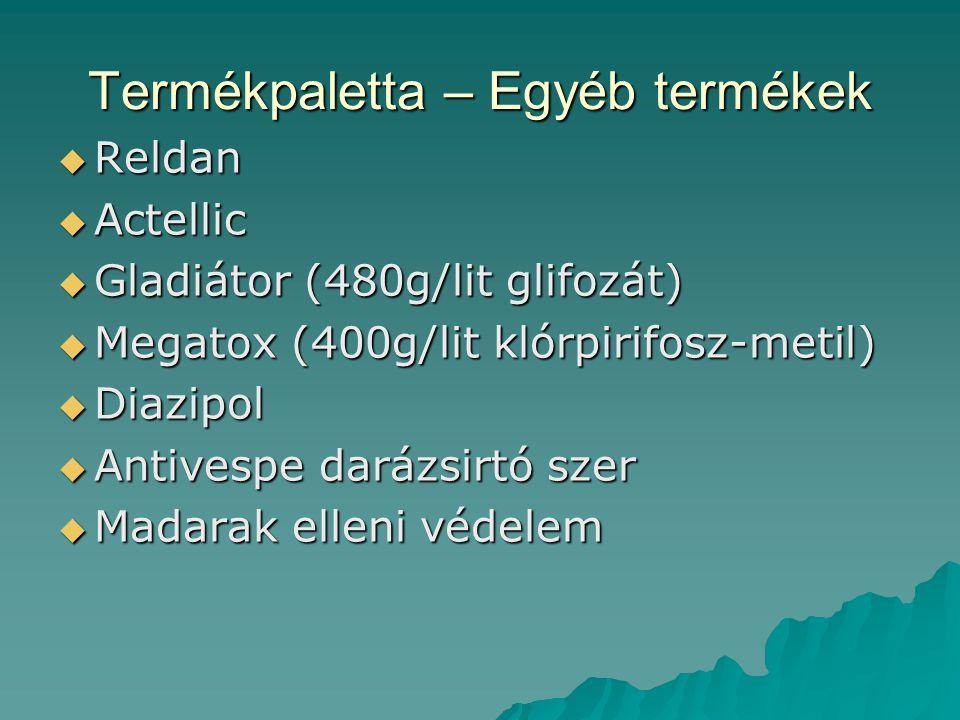 Termékpaletta – Egyéb termékek  Reldan  Actellic  Gladiátor (480g/lit glifozát)  Megatox (400g/lit klórpirifosz-metil)  Diazipol  Antivespe dará