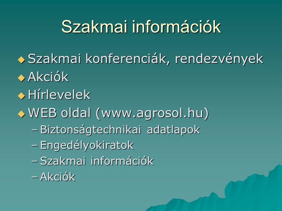 Szakmai információk  Szakmai konferenciák, rendezvények  Akciók  Hírlevelek  WEB oldal (www.agrosol.hu) –Biztonságtechnikai adatlapok –Engedélyoki