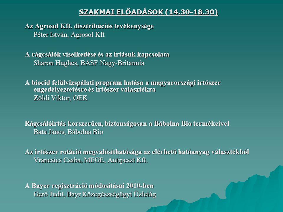 SZAKMAI ELŐADÁSOK (14.30-18.30) Az Agrosol Kft. disztribúciós tevékenysége Péter István, Agrosol Kft A rágcsálók viselkedése és az irtásuk kapcsolata