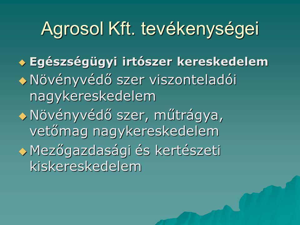 Agrosol Kft. tevékenységei  Egészségügyi irtószer kereskedelem  Növényvédő szer viszonteladói nagykereskedelem  Növényvédő szer, műtrágya, vetőmag