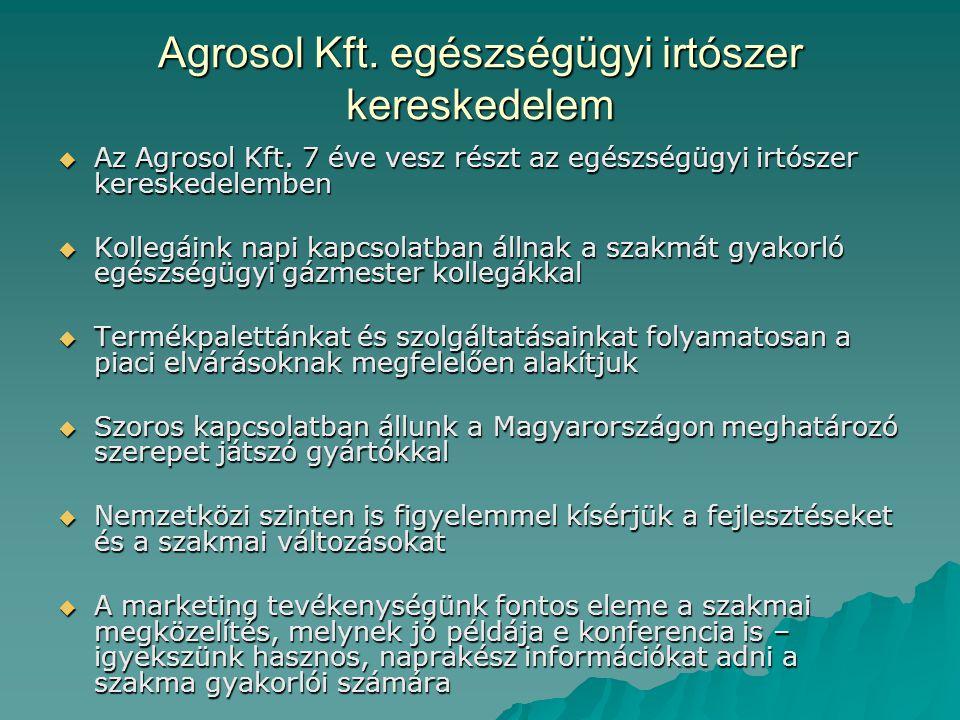 Agrosol Kft. egészségügyi irtószer kereskedelem  Az Agrosol Kft. 7 éve vesz részt az egészségügyi irtószer kereskedelemben  Kollegáink napi kapcsola