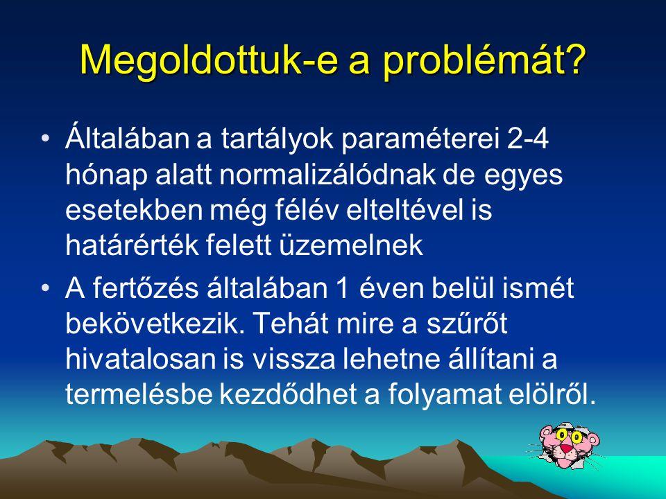 Megoldottuk-e a problémát? •Általában a tartályok paraméterei 2-4 hónap alatt normalizálódnak de egyes esetekben még félév elteltével is határérték fe