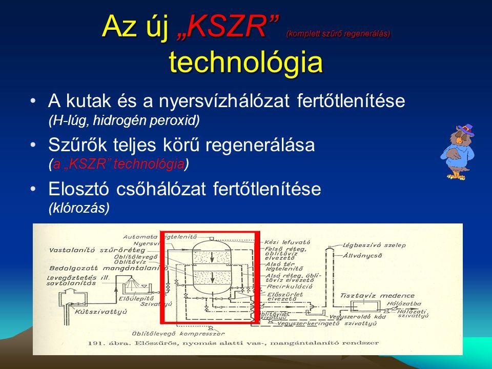 """Az új """"KSZR"""" (komplett szűrő regenerálás) technológia •A kutak és a nyersvízhálózat fertőtlenítése (H-lúg, hidrogén peroxid) •Szűrők teljes körű regen"""