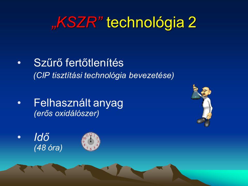 """""""KSZR"""" technológia 2 •Szűrő fertőtlenítés (CIP tisztítási technológia bevezetése) •Felhasznált anyag (erős oxidálószer) •Idő (48 óra)"""