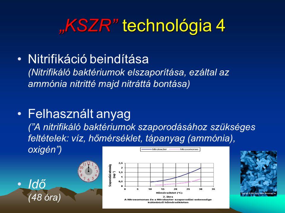 """""""KSZR"""" technológia 4 •Nitrifikáció beindítása (Nitrifikáló baktériumok elszaporítása, ezáltal az ammónia nitritté majd nitráttá bontása) •Felhasznált"""