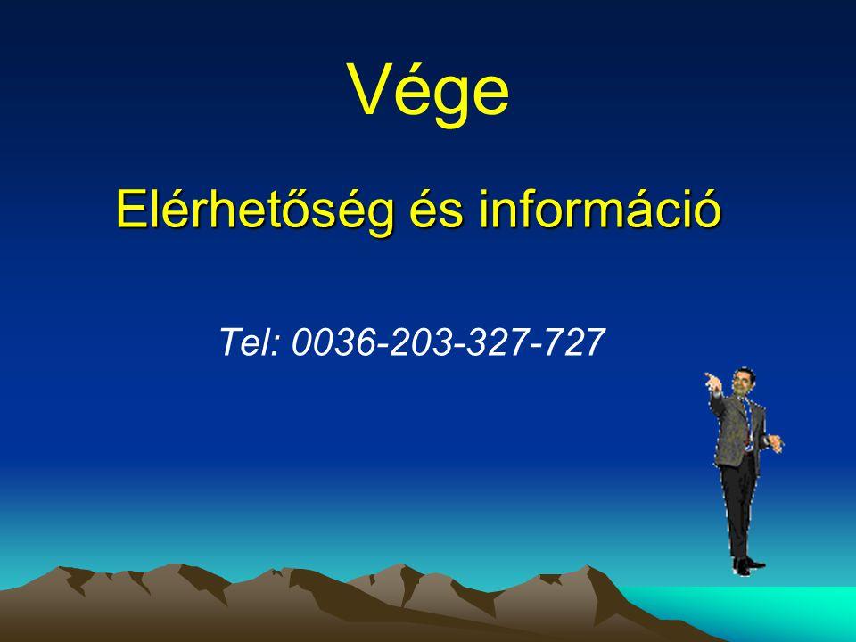 Elérhetőség és információ Tel: 0036-203-327-727 Vége