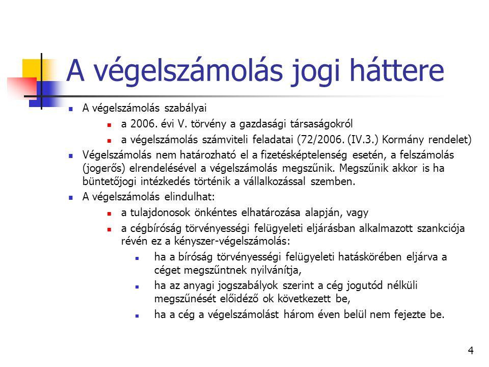 4 A végelszámolás jogi háttere  A végelszámolás szabályai  a 2006.