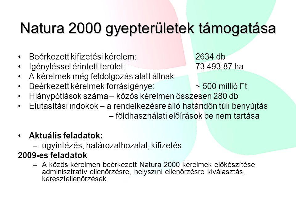 Natura 2000 gyepterületek támogatása •Beérkezett kifizetési kérelem: 2634 db •Igényléssel érintett terület: 73 493,87 ha •A kérelmek még feldolgozás alatt állnak •Beérkezett kérelmek forrásigénye: ~ 500 millió Ft •Hiánypótlások száma – közös kérelmen összesen 280 db •Elutasítási indokok – a rendelkezésre álló határidőn túli benyújtás – földhasználati előírások be nem tartása •Aktuális feladatok: –ügyintézés, határozathozatal, kifizetés 2009-es feladatok –A közös kérelmen beérkezett Natura 2000 kérelmek előkészítése adminisztratív ellenőrzésre, helyszíni ellenőrzésre kiválasztás, keresztellenőrzések