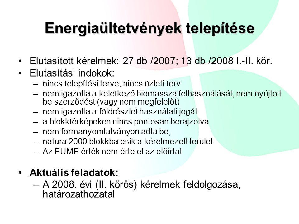 Energiaültetvények telepítése •Elutasított kérelmek: 27 db /2007; 13 db /2008 I.-II. kör. •Elutasítási indokok: –nincs telepítési terve, nincs üzleti