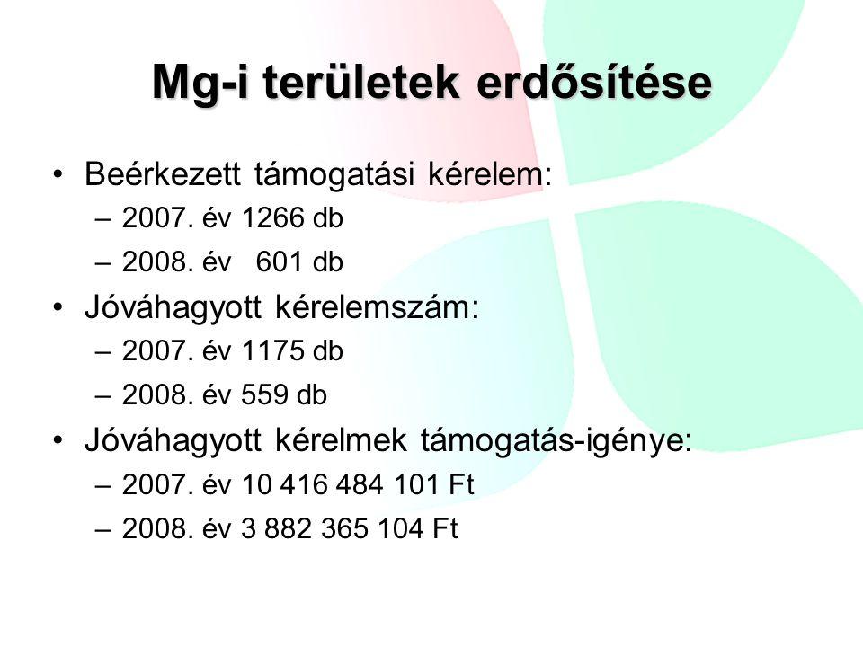 Mg-i területek erdősítése •Beérkezett támogatási kérelem: –2007. év 1266 db –2008. év 601 db •Jóváhagyott kérelemszám: –2007. év 1175 db –2008. év 559