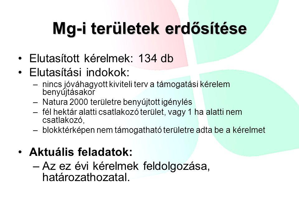 Mg-i területek erdősítése •Elutasított kérelmek: 134 db •Elutasítási indokok: –nincs jóváhagyott kiviteli terv a támogatási kérelem benyújtásakor –Natura 2000 területre benyújtott igénylés –fél hektár alatti csatlakozó terület, vagy 1 ha alatti nem csatlakozó, –blokktérképen nem támogatható területre adta be a kérelmet •Aktuális feladatok: –Az ez évi kérelmek feldolgozása, határozathozatal.