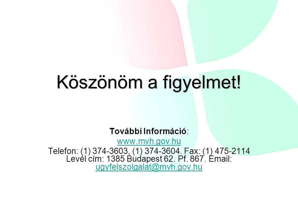 Köszönöm a figyelmet! További Információ: www.mvh.gov.hu Telefon: (1) 374-3603, (1) 374-3604. Fax: (1) 475-2114 Levél cím: 1385 Budapest 62. Pf. 867.