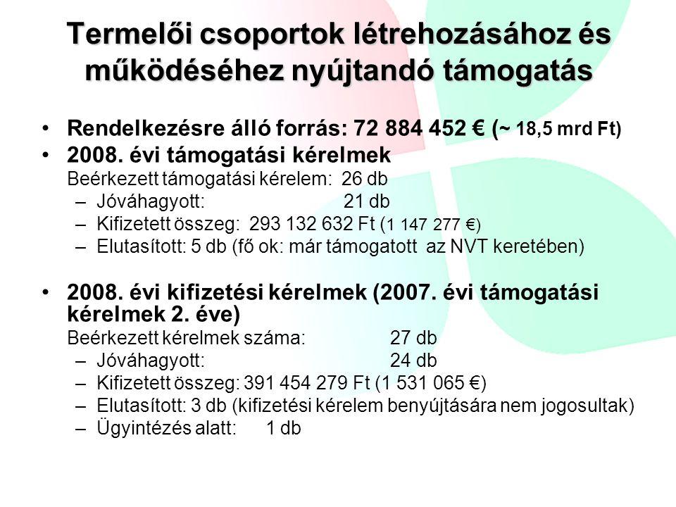 Termelői csoportok létrehozásához és működéséhez nyújtandó támogatás •Rendelkezésre álló forrás: 72 884 452 € ( ~ 18,5 mrd Ft) •2008. évi támogatási k
