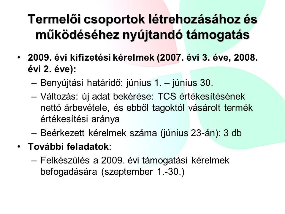 Termelői csoportok létrehozásához és működéséhez nyújtandó támogatás •2009. évi kifizetési kérelmek (2007. évi 3. éve, 2008. évi 2. éve): –Benyújtási