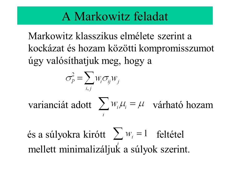 A Markowitz feladat Markowitz klasszikus elmélete szerint a kockázat és hozam közötti kompromisszumot úgy valósíthatjuk meg, hogy a varianciát adott v