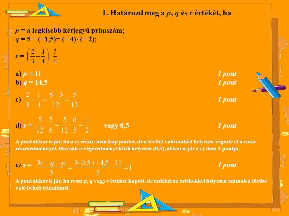 1. Határozd meg a p, q és r értékét, ha p = a legkisebb kétjegyű prímszám; q = 5 − (−1,5)+ (− 4) ⋅ (− 2); r = a) p = 11 1 pont b) q = 14,5 1 pont c) 1