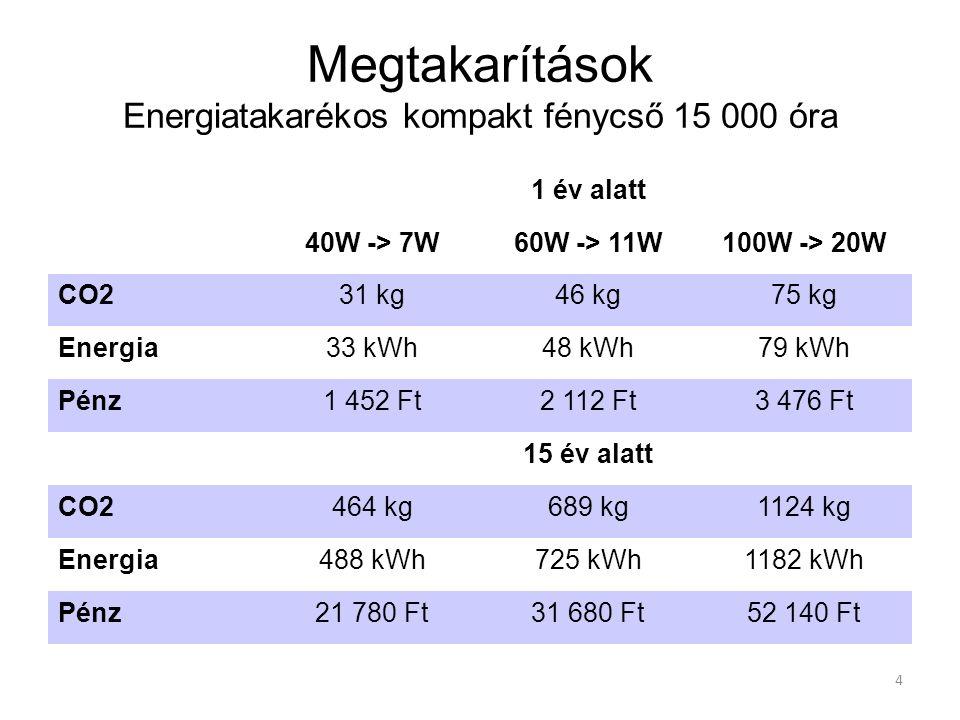 4 1 év alatt 40W -> 7W60W -> 11W100W -> 20W CO231 kg46 kg75 kg Energia33 kWh48 kWh79 kWh Pénz1 452 Ft2 112 Ft3 476 Ft 15 év alatt CO2464 kg689 kg1124