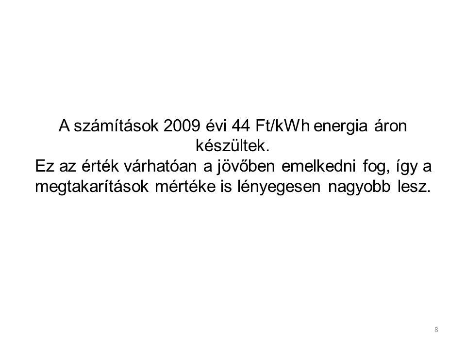 8 A számítások 2009 évi 44 Ft/kWh energia áron készültek. Ez az érték várhatóan a jövőben emelkedni fog, így a megtakarítások mértéke is lényegesen na