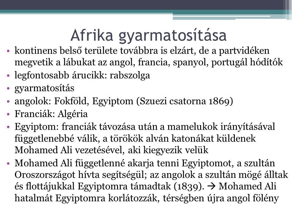 Afrika gyarmatosítása •kontinens belső területe továbbra is elzárt, de a partvidéken megvetik a lábukat az angol, francia, spanyol, portugál hódítók •legfontosabb árucikk: rabszolga •gyarmatosítás •angolok: Fokföld, Egyiptom (Szuezi csatorna 1869) •Franciák: Algéria •Egyiptom: franciák távozása után a mamelukok irányításával függetlenebbé válik, a törökök alván katonákat küldenek Mohamed Ali vezetésével, aki kiegyezik velük •Mohamed Ali függetlenné akarja tenni Egyiptomot, a szultán Oroszországot hívta segítségül; az angolok a szultán mögé álltak és flottájukkal Egyiptomra támadtak (1839).