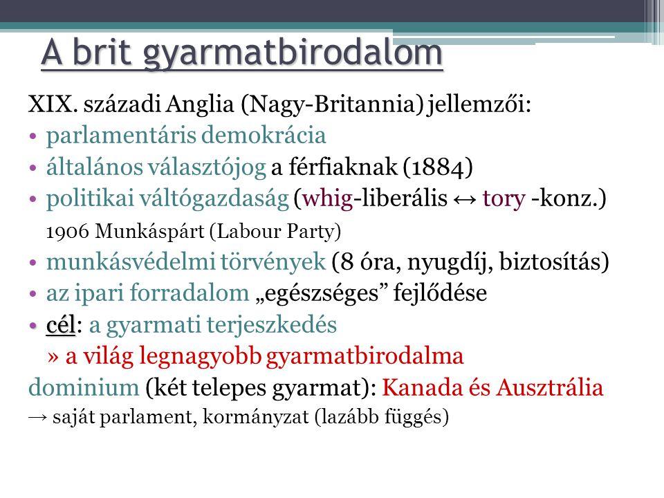 XIX. századi Anglia (Nagy-Britannia) jellemzői: •parlamentáris demokrácia •általános választójog a férfiaknak (1884) •politikai váltógazdaság (whig-li