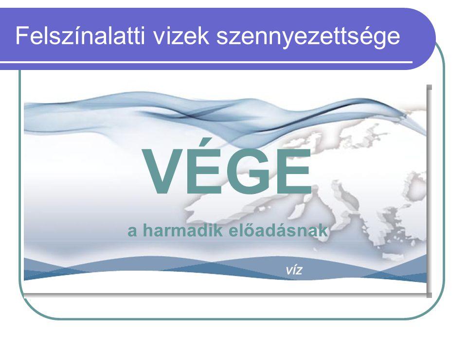 Felszínalatti vizek szennyezettsége VÉGE a harmadik előadásnak