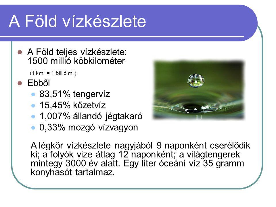 A Föld vízkészlete  A Föld teljes vízkészlete: 1500 millió köbkilométer (1 km 3 = 1 billió m 3 )  Ebből  83,51% tengervíz  15,45% kőzetvíz  1,007