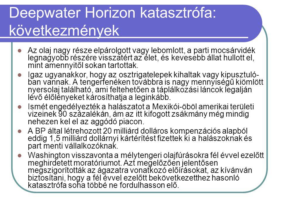 Deepwater Horizon katasztrófa: következmények  Az olaj nagy része elpárolgott vagy lebomlott, a parti mocsárvidék legnagyobb részére visszatért az él