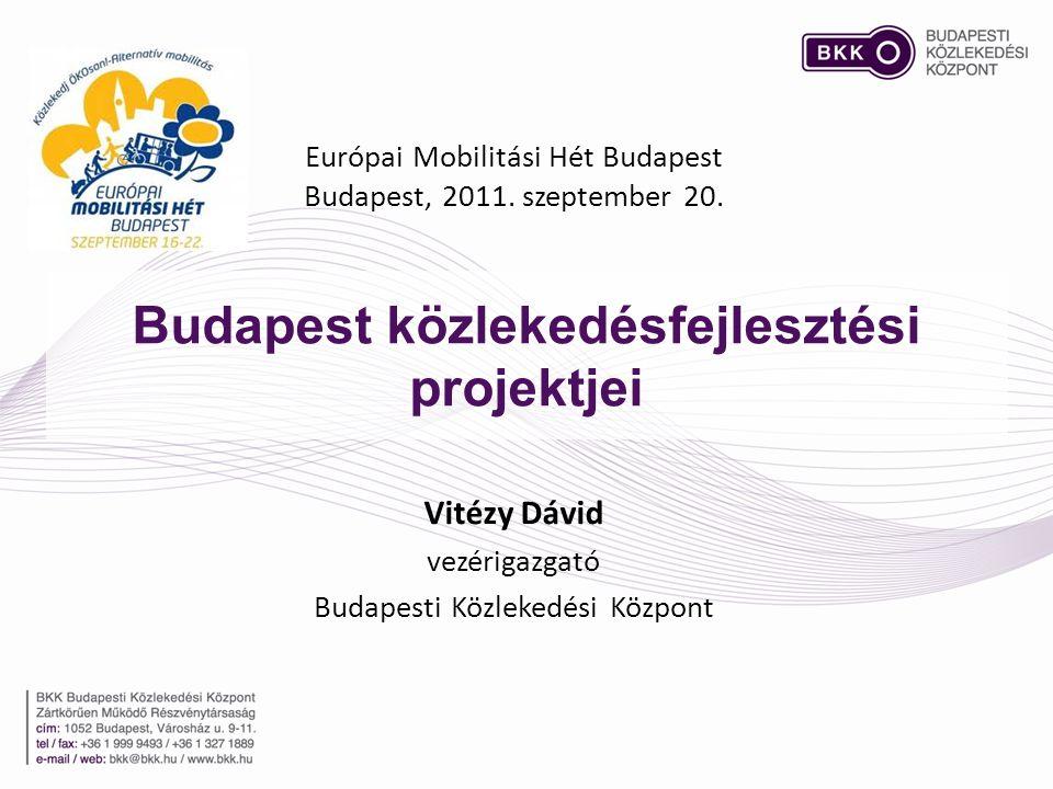 Budapest közlekedésfejlesztési projektjei Európai Mobilitási Hét Budapest Budapest, 2011. szeptember 20. Vitézy Dávid vezérigazgató Budapesti Közleked
