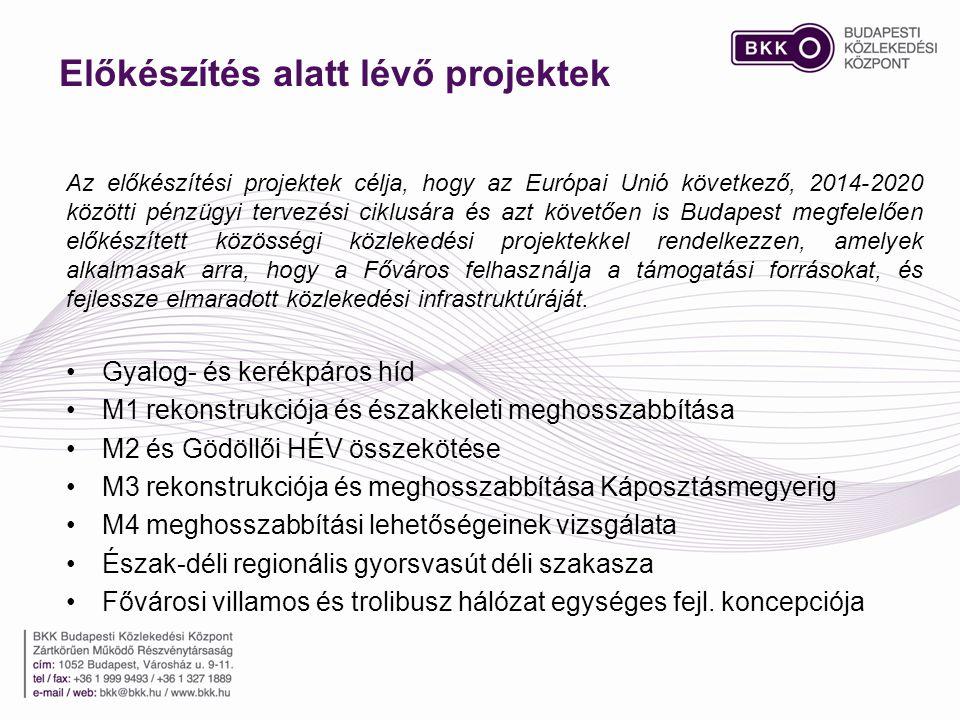 Előkészítés alatt lévő projektek Az előkészítési projektek célja, hogy az Európai Unió következő, 2014-2020 közötti pénzügyi tervezési ciklusára és az