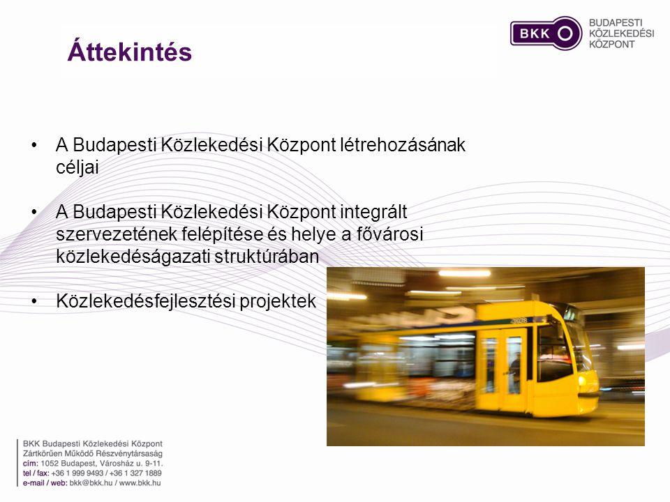 Áttekintés •A Budapesti Közlekedési Központ létrehozásának céljai •A Budapesti Közlekedési Központ integrált szervezetének felépítése és helye a fővárosi közlekedéságazati struktúrában •Közlekedésfejlesztési projektek