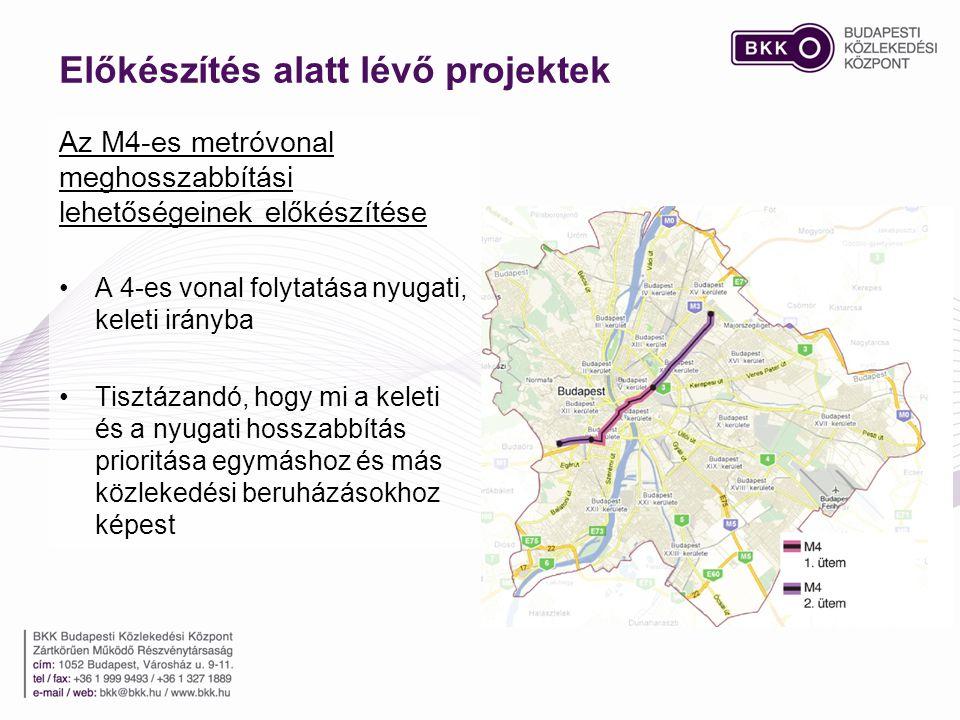 Az M4-es metróvonal meghosszabbítási lehetőségeinek előkészítése •A 4-es vonal folytatása nyugati, keleti irányba •Tisztázandó, hogy mi a keleti és a nyugati hosszabbítás prioritása egymáshoz és más közlekedési beruházásokhoz képest Előkészítés alatt lévő projektek