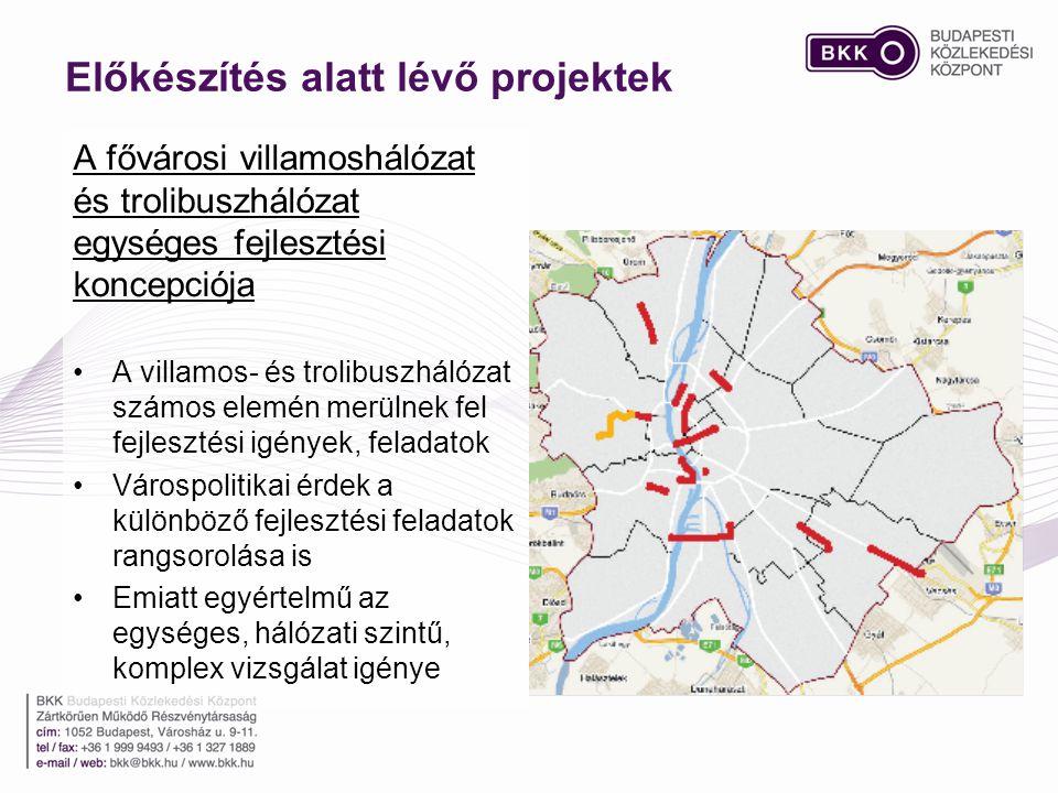 A fővárosi villamoshálózat és trolibuszhálózat egységes fejlesztési koncepciója •A villamos- és trolibuszhálózat számos elemén merülnek fel fejlesztési igények, feladatok •Várospolitikai érdek a különböző fejlesztési feladatok rangsorolása is •Emiatt egyértelmű az egységes, hálózati szintű, komplex vizsgálat igénye Előkészítés alatt lévő projektek