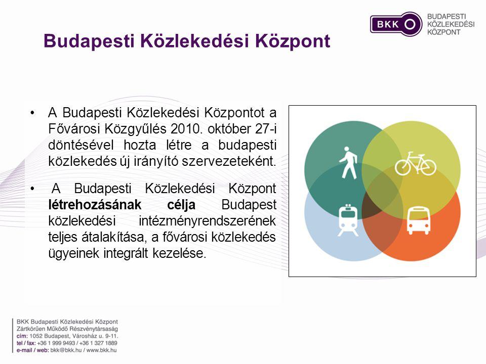 Budapesti Közlekedési Központ •A Budapesti Közlekedési Központot a Fővárosi Közgyűlés 2010. október 27-i döntésével hozta létre a budapesti közlekedés