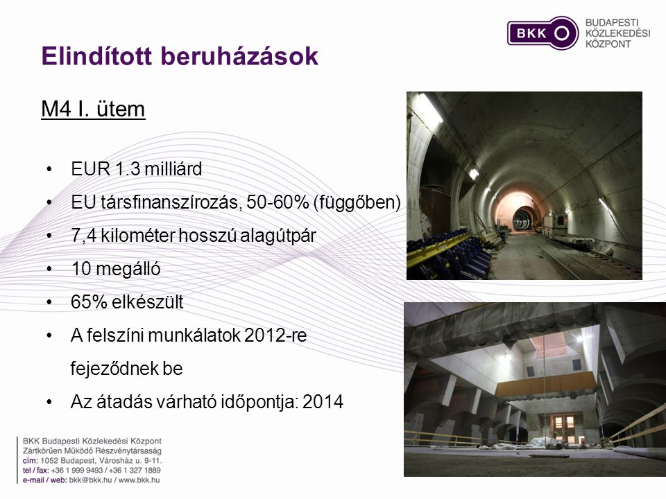 Elindított beruházások M4 I. ütem •EUR 1.3 milliárd •EU társfinanszírozás, 50-60% (függőben) •7,4 kilométer hosszú alagútpár •10 megálló •65% elkészül